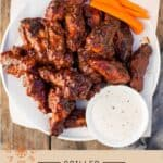 Grilled Chicken Wings Pinterest Pin with text on light background