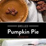 Grilled Pumpkin Pie Pinterest Pin on Dark Background