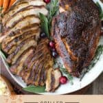 Cajun Grilled Turkey Pinterest Pin with text on light background