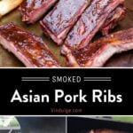 Smoked Asian Pork Ribs Pinterest Pin text on dark background