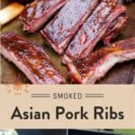 Smoked Asian Pork Ribs Pinterest Pin text on light background