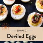 Smoked Deviled Eggs Pinterest Pin with text on light background