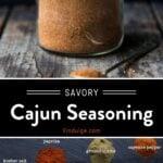 Cajun Seasoning Pinterest Pin with text on dark background