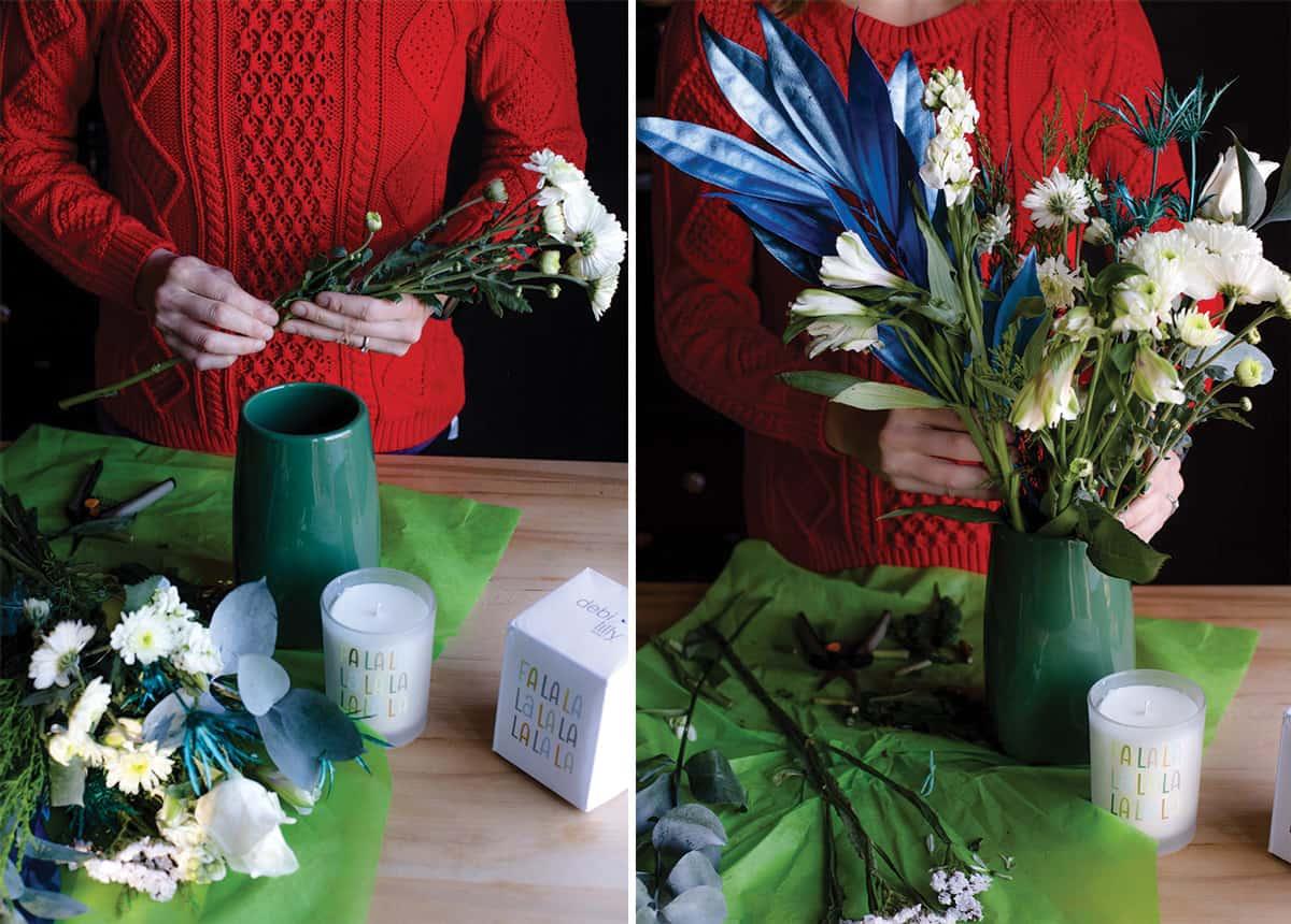 Arranging a bouquet of flowers