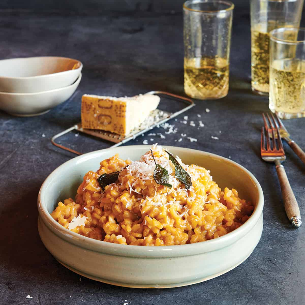 A bowl of Smoked Pumpkin Risotto from Fire and Wine Cookbook