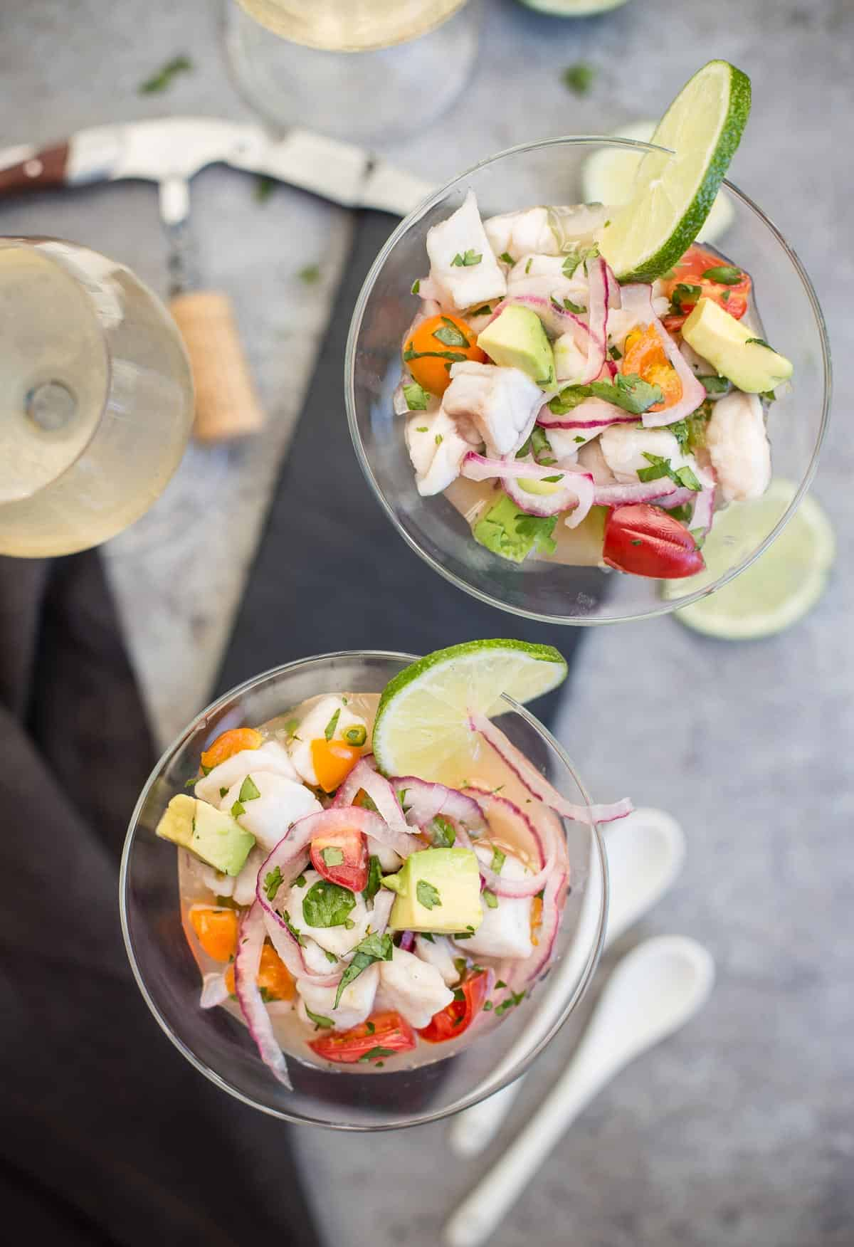 Two glasses filled with an Easy Ceviche Dish.