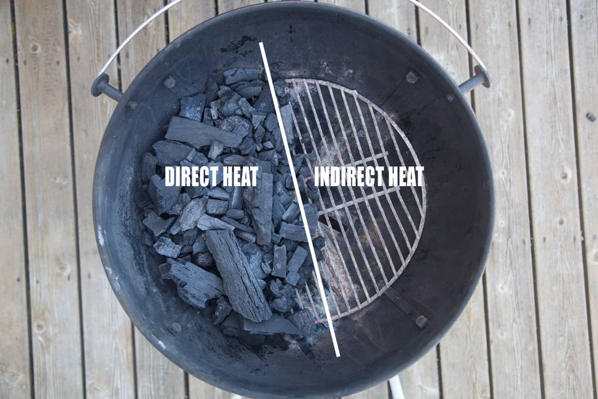 A top down photo of a Weber kettle grill showing lump charcoal on one side, no coals on the other side, known as two-zone cooking.