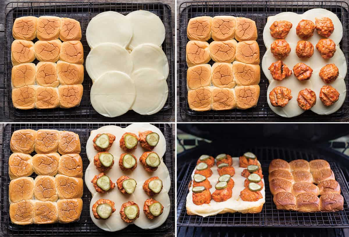 4 photos showing step by step how to make Grilled Buffalo Chicken Meatball Sliders