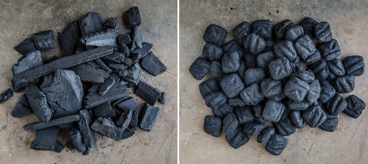 Two photos, side by side, with a pile of lump charcoal on the left, and briquettes on the right.
