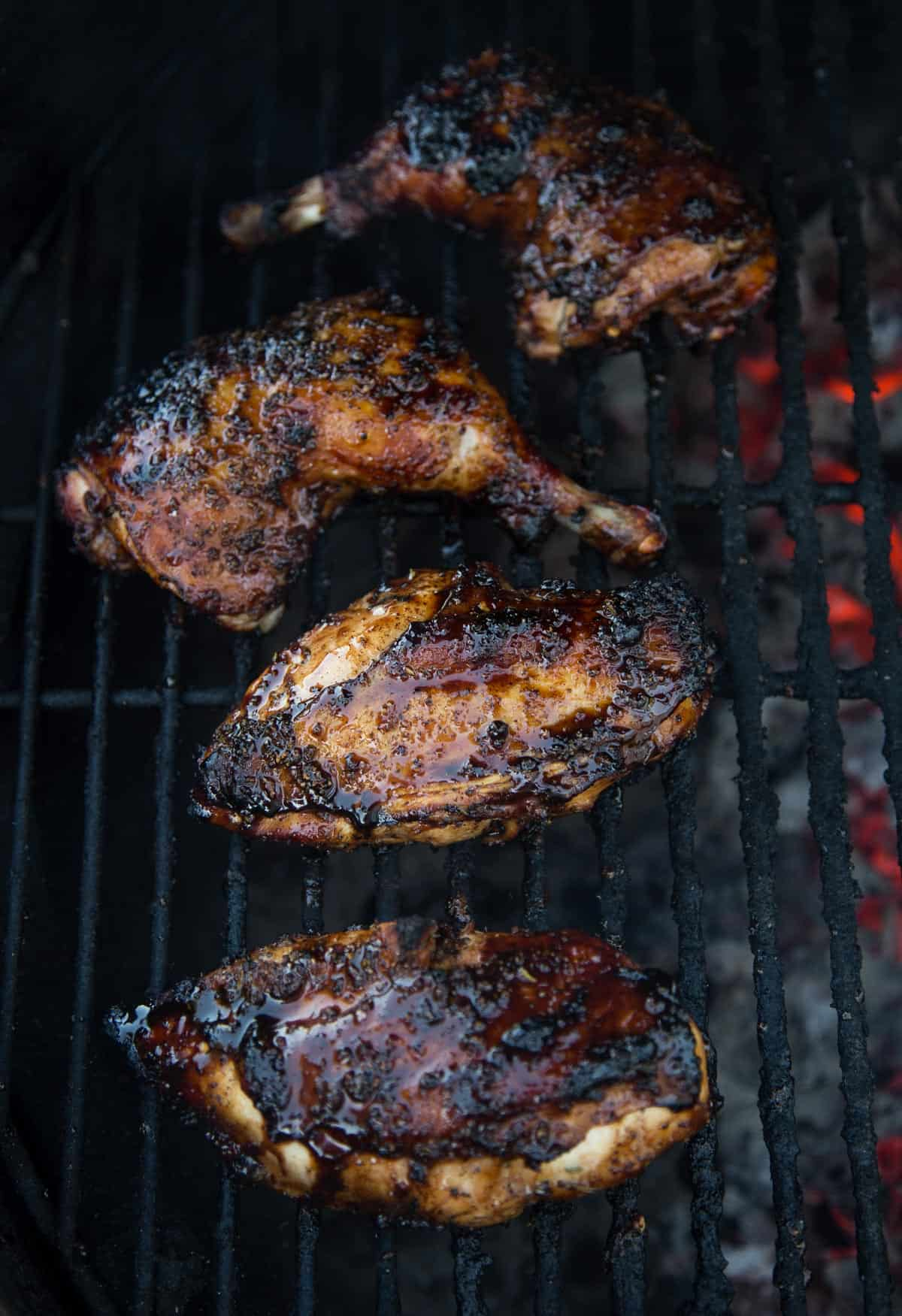 Balsamic Rosemary Grilled Chicken on the grill