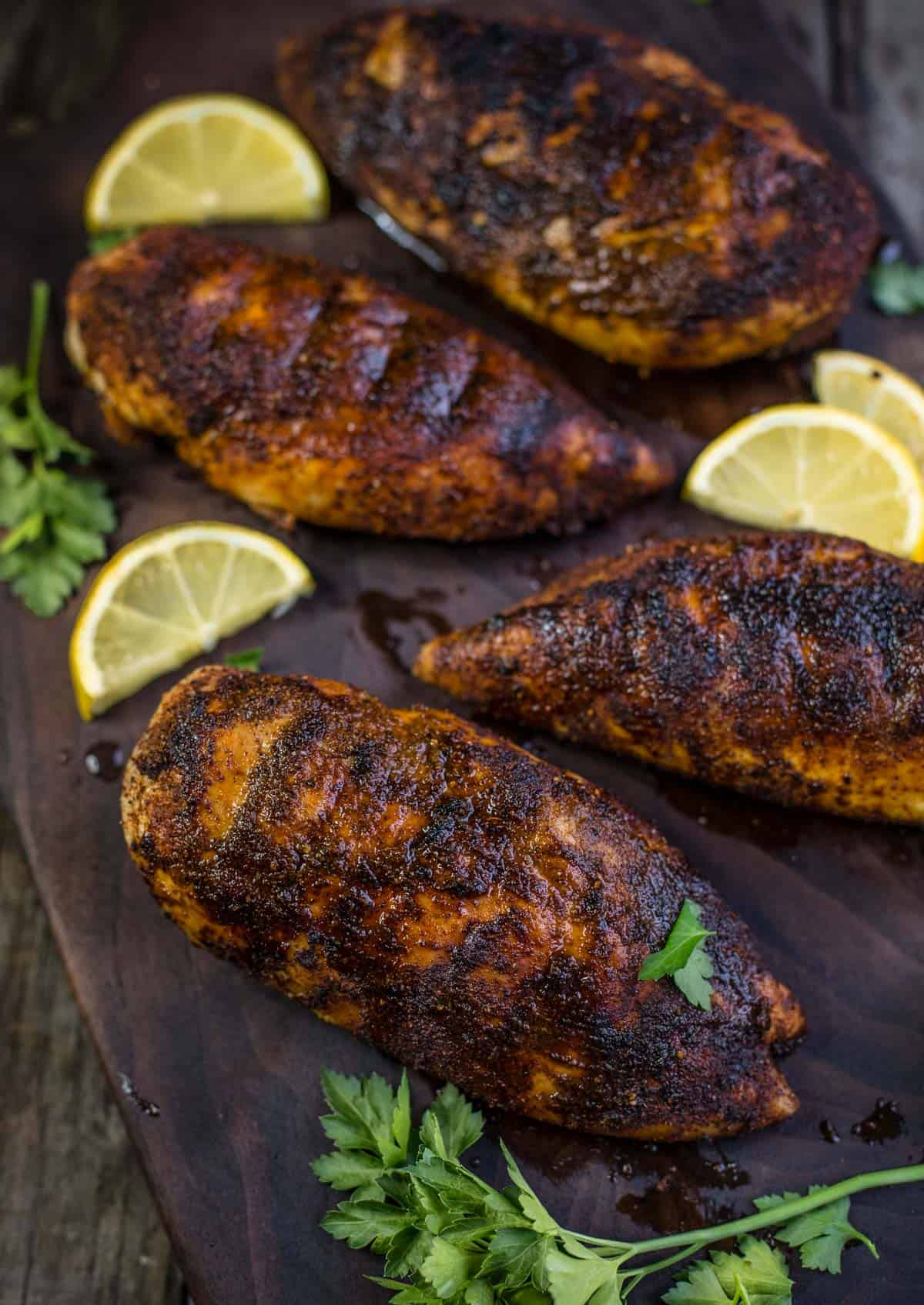 Blackened Chicken Breasts on a cutting board