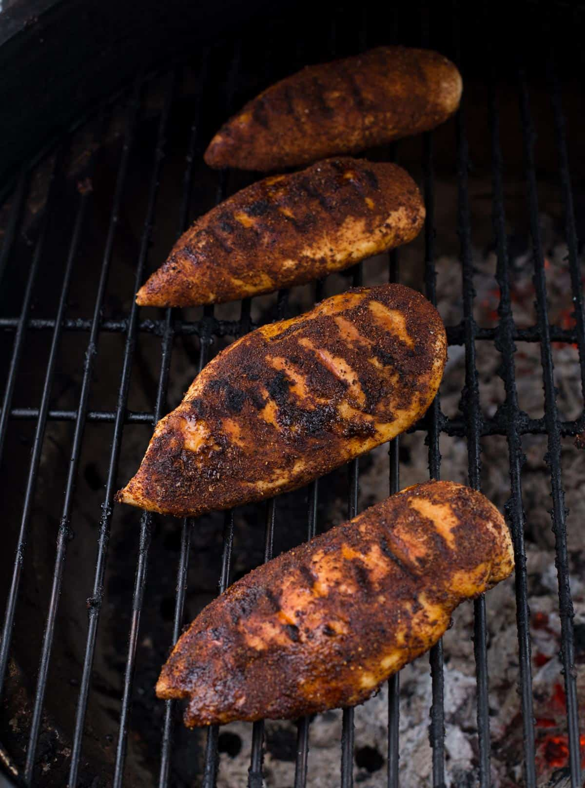 Blackened Chicken Breasts on the grill