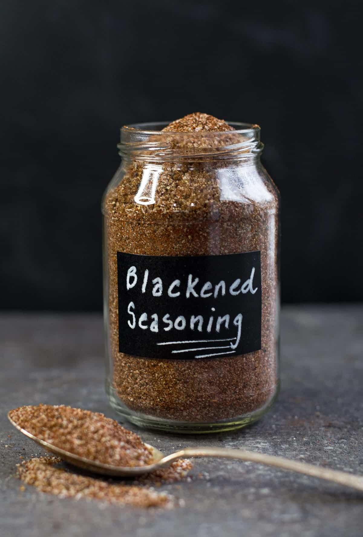 Blackening Seasoning in a mason jar