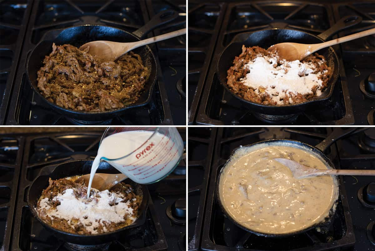 4 photos side by side showing how to make a sausage gravy in a cast iron pan, step by step