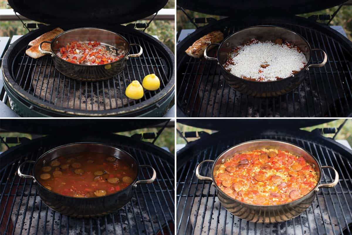 4 Step by step photos demonstrating how to make paella on the grill
