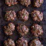 Smoked Sausage patties on a sheet pan