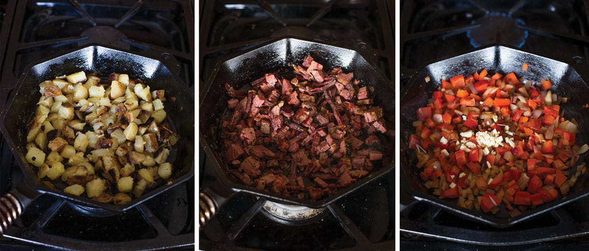 3 photos demonstrating the step by step process of making a corned beef hash
