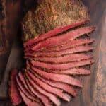 Sliced corned beef brisket flat.