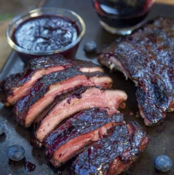 Blueberry Bourbon Ribs on a sheetpan