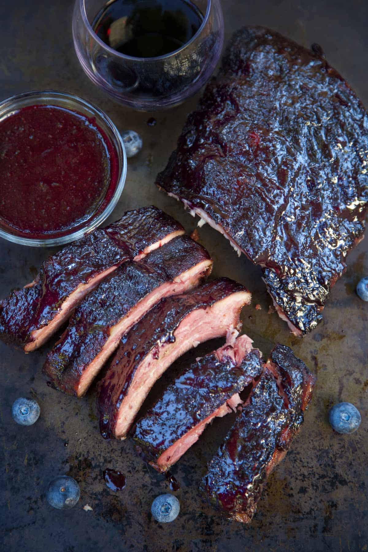 Blueberry Bourbon Baby Back Ribs on a sheetpan