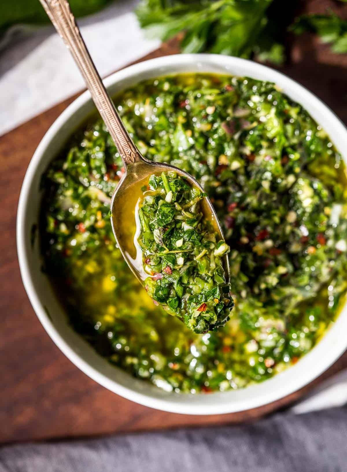 A spoonful of Jalapeño Chimichurri sauce
