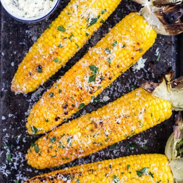 Grilled Corn on the cob with herb butter.