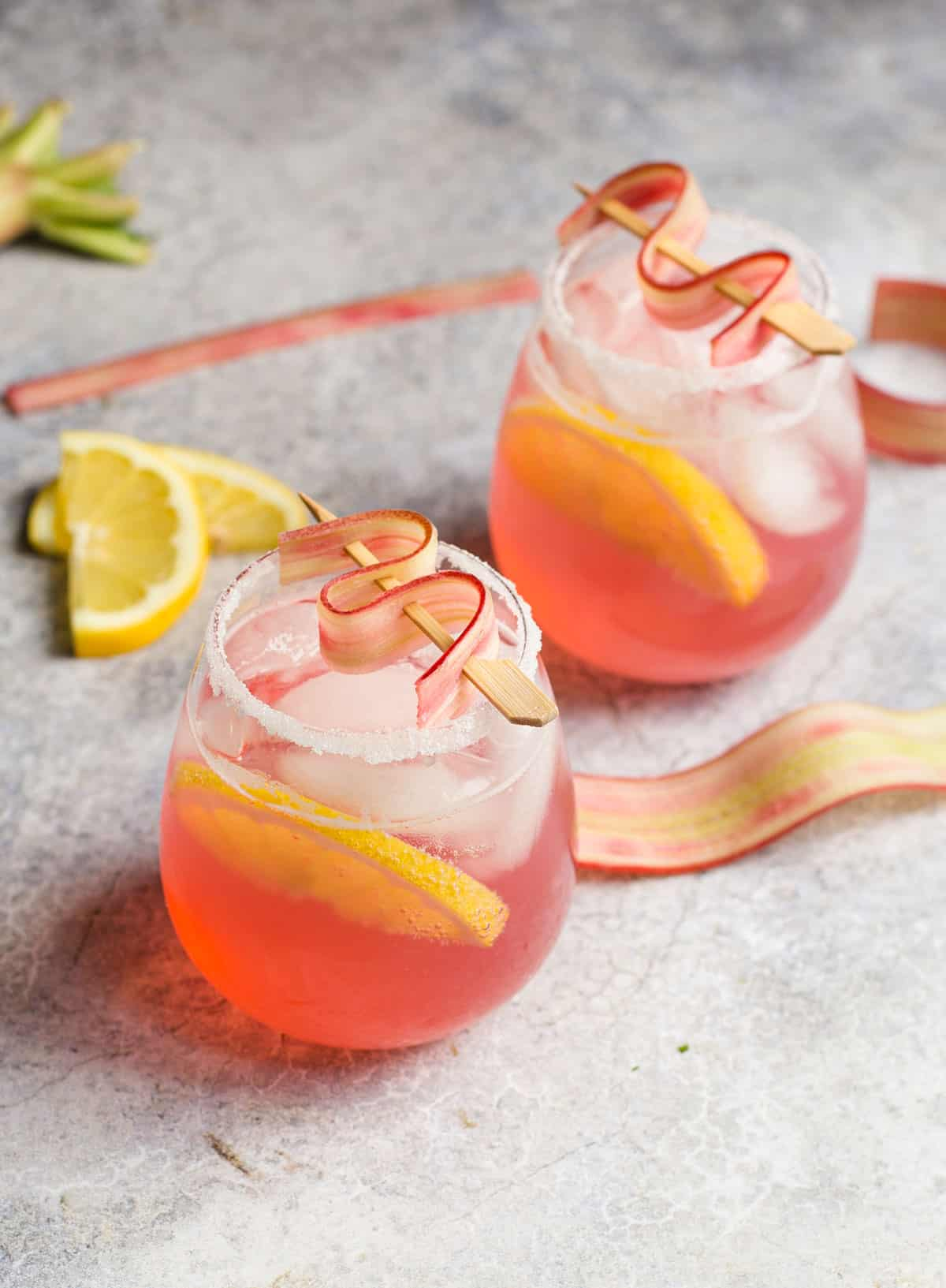 A Rhubarb Lemon Cocktail in a glass