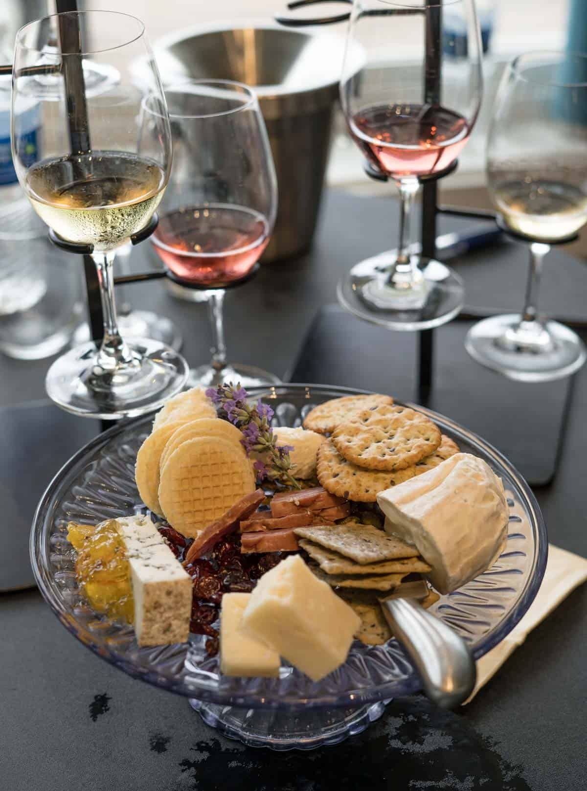 The cheese pate and wine flight at Dr. Konstantin Frank Vineyards