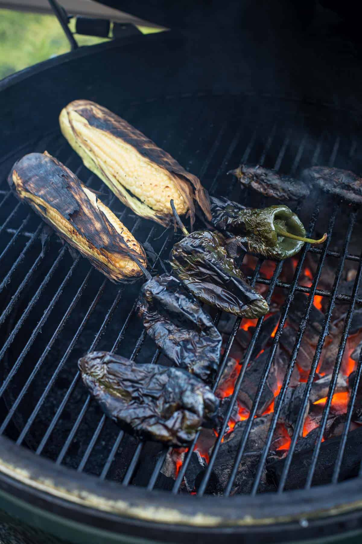 roasted poblano peppers and corn on the grill.