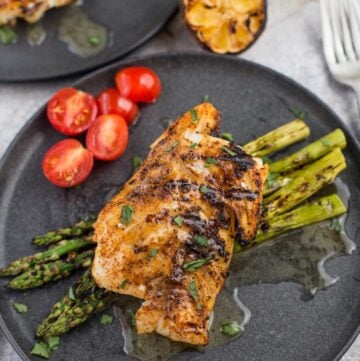 Grilled Cod with Garlic Wine Butter Sauce