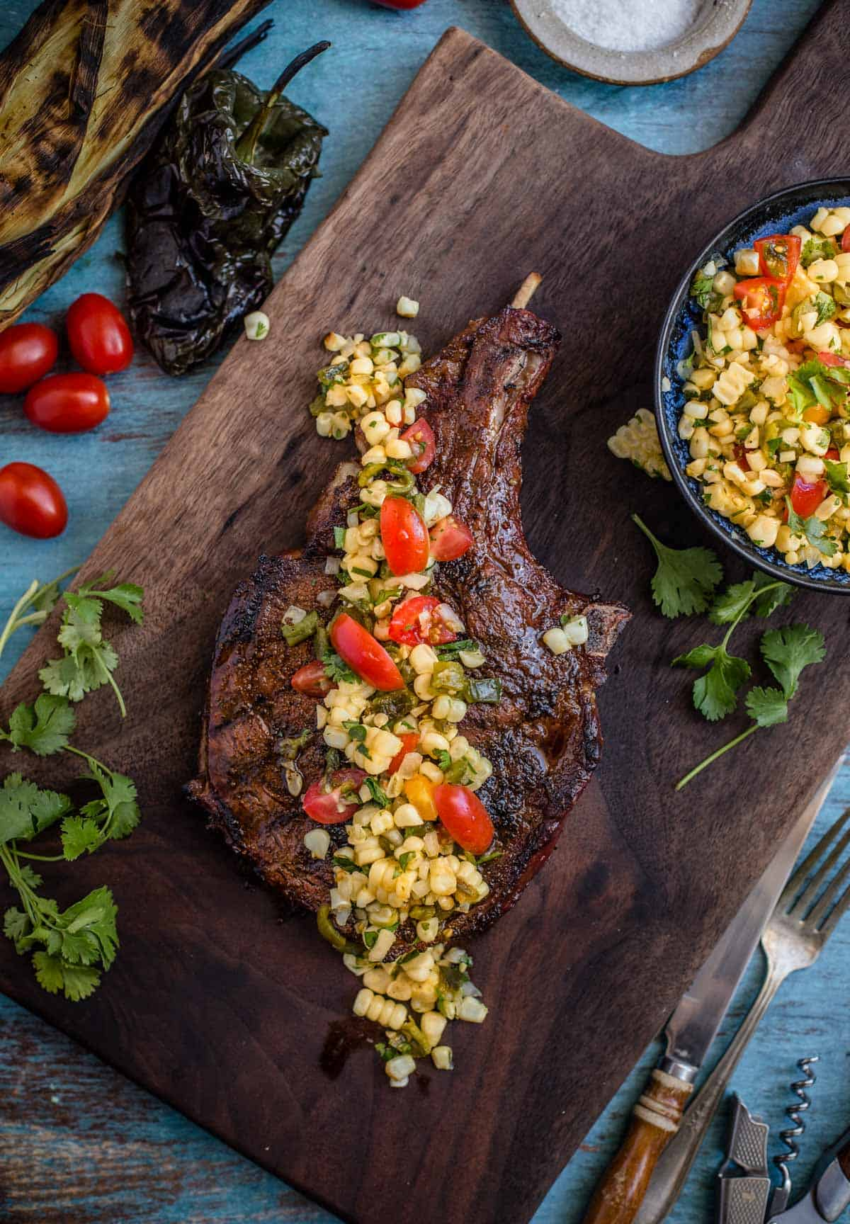 Grilled Steak with roasted poblano corn salsa over the top.