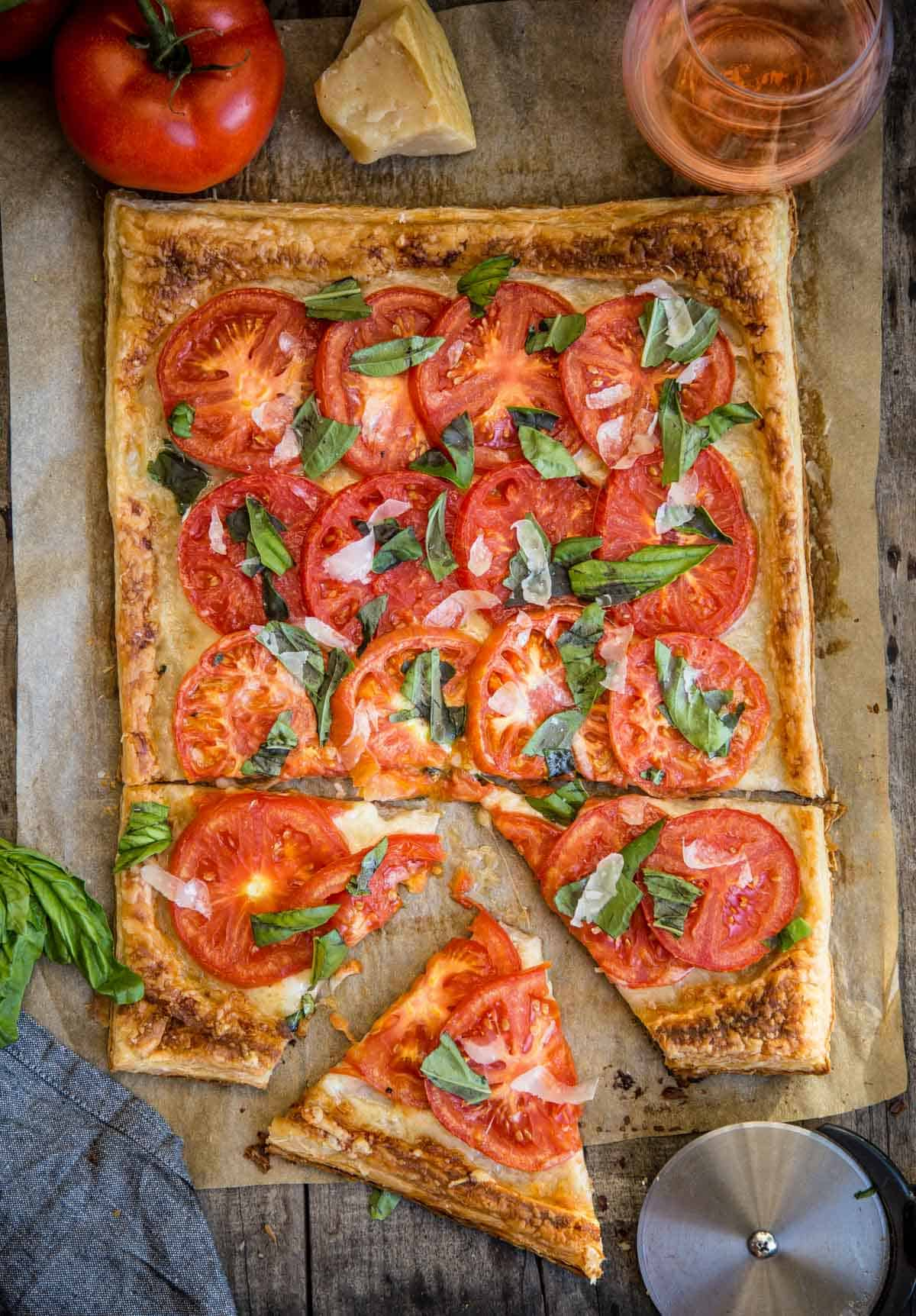 Fresh Summer Tomato Galette made with Puff Pastry