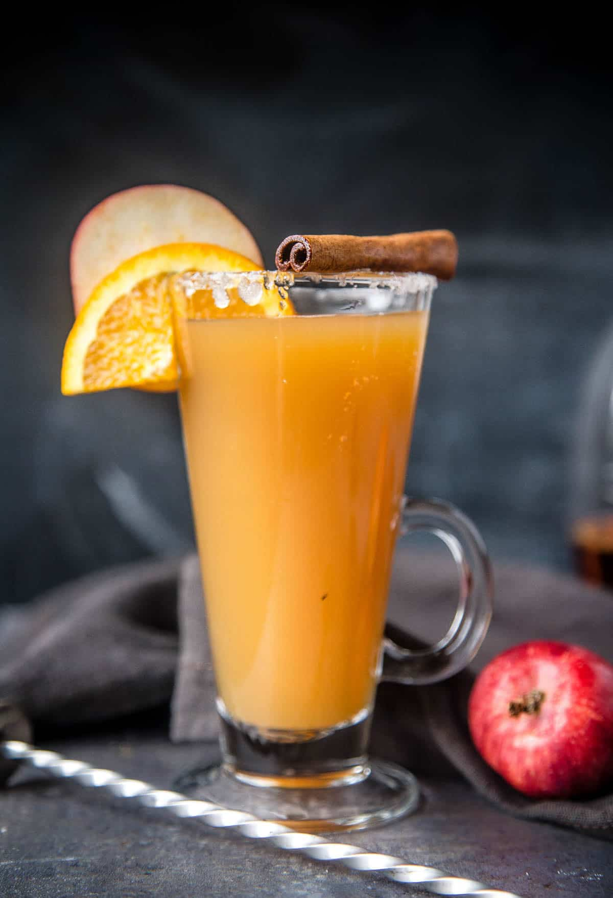 A Bourbon Spiked Hot Apple Cider cocktail in a glass