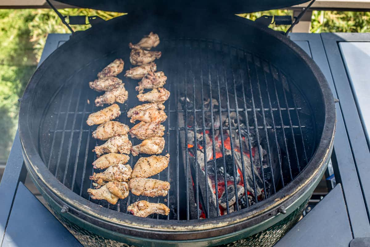 grilling chicken wings on the grill using two-zone grilling