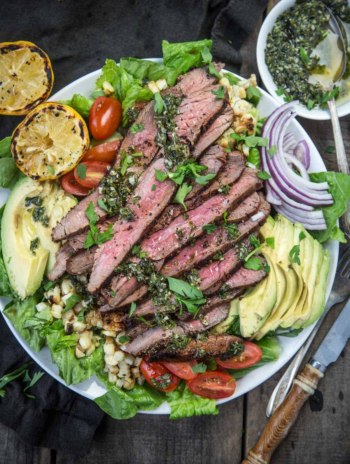 Grilled Flank Steak Salad on a large plate