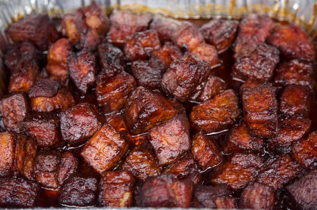 Pork Belly Burnt Ends in a large sheetpan